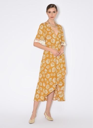 Tuba Ergin Tuba Ergin Baskılı Anvelop Midi Kadın Elbise Sarı